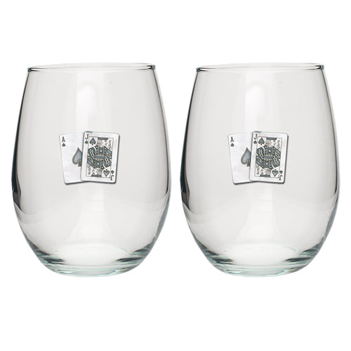 BLACK JACK STEMLESS GOBLET (SET OF 2)