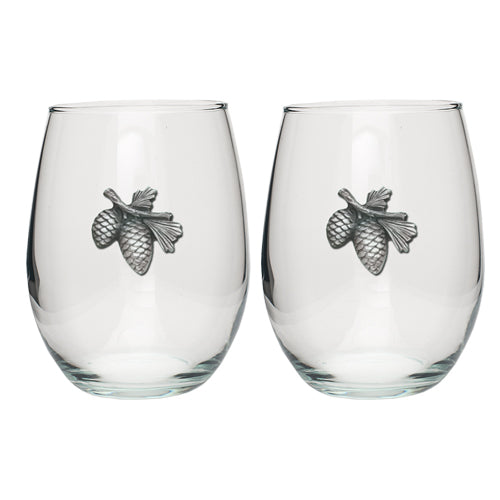 PINE CONE STEMLESS GOBLETS (SET OF 2)