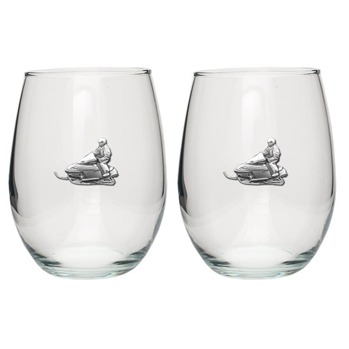 SNOWMOBILE STEMLESS GOBLET (SET OF 2)