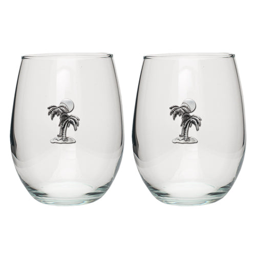 PALM TREE STEMLESS GOBLETS (SET OF 2)