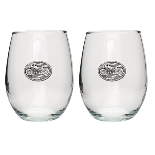 MOTORCYCLE STEMLESS GOBLET (SET OF 2)