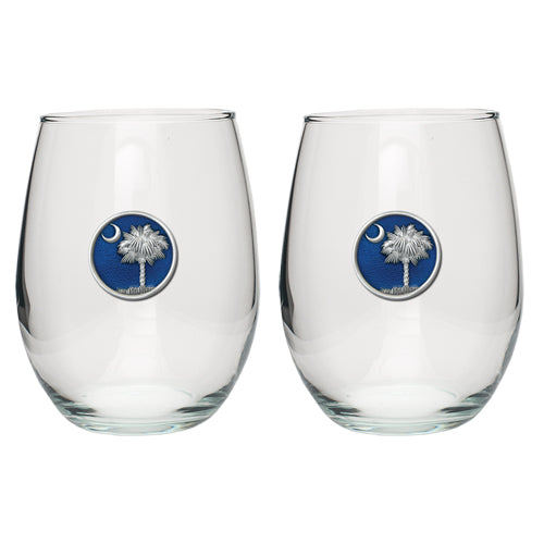SOUTH CAROLINA PALMETTO STEMLESS GOBLET (SET OF 2)