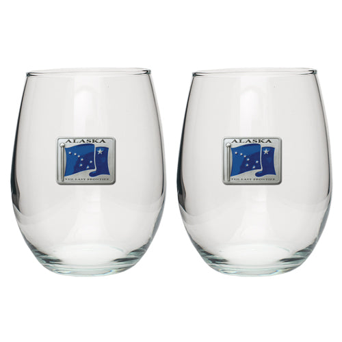 ALASKA FLAG STEMLESS GOBLETS (SET OF 2)