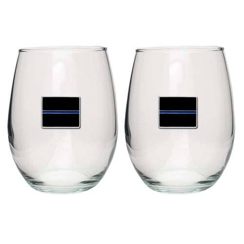 THIN BLUE LINE STEMLESS GOBLET (SET OF 2)