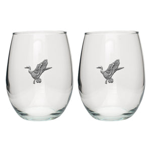 MALLARD DUCKS STEMLESS GOBLETS (SET OF 2)
