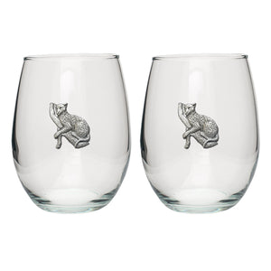 LEOPARD STEMLESS GOBLETS (SET OF 2)