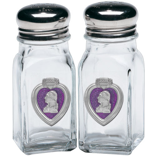 PURPLE HEART SALT & PEPPER SHAKERS