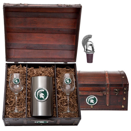 MICHIGAN STATE UNIVERSITY WINE CHEST SET