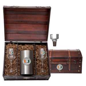 UNIVERSITY OF MIAMI WINE CHEST SET