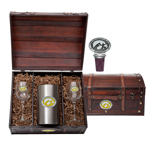 Iowa Hawkeyes wine chest set with travel mugs capitol decanter double old fashioned glass flask keg mug stein money clip stein pitcher salt & pepper money clip goblets flask wind chime pint stein wine chiller