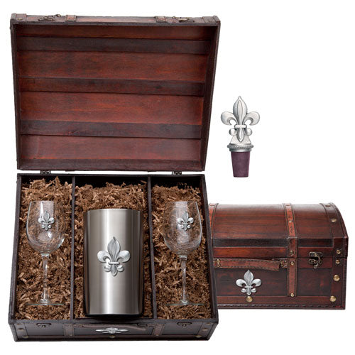 FLEUR DE LIS WINE CHEST SET