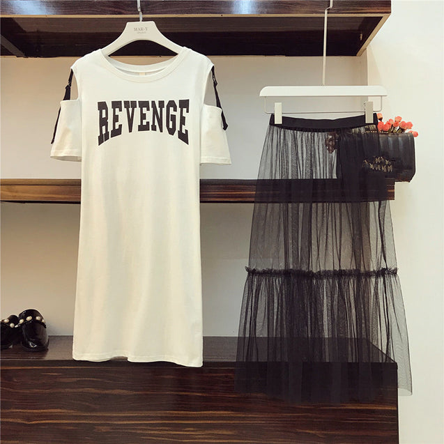 2 Piece set 2018 Summer Women's Cotton Long Strapless T-shirt +Mesh See Through Skirt Sets Women Fashion Holes Belt Skirts Suits BLSS2019005