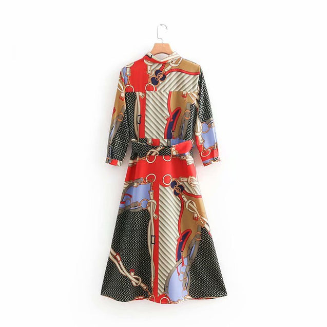 2018 women vintage printing shirtdress loose three quarter sleeve bow tied sashes long dress vestidos party chic dresses  BLD2019145