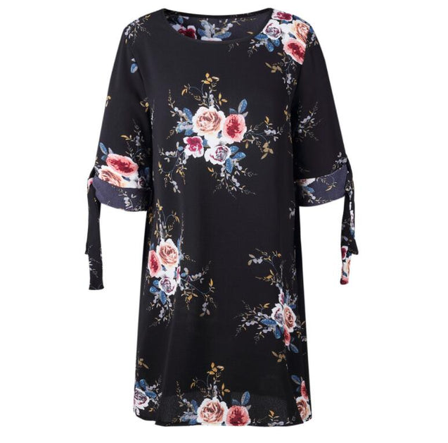 5XL Plus Size Dress Women Summer Sundress Blue Pearl Chiffon Dress Office Work Tie Floral Printed Casual Beach Dresses Vestidos BLD2019173