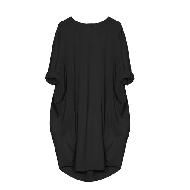 Feitong Plus Size Boho Womens Dress Ladies Casual Pocket Loose Dress Crew Neck Mini Tops Dress female vestidos verano 2019 New BLD2019148