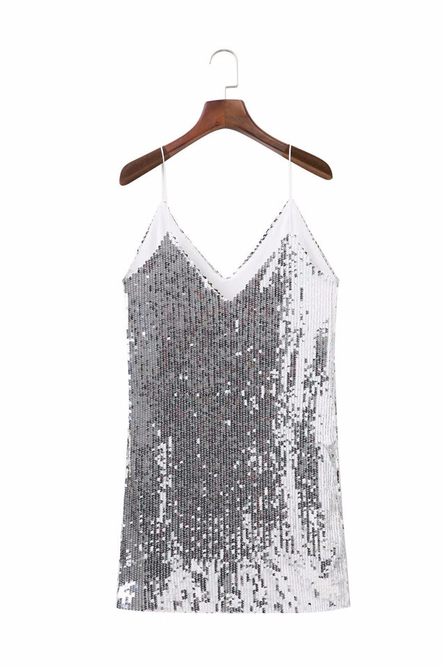 Deep V Neck Autumn Silver Sequined Backless Sexy Dress Women Off Shoulder Mini Dress Christmas Party Club Strap Dresses Vestidos BLD2019259