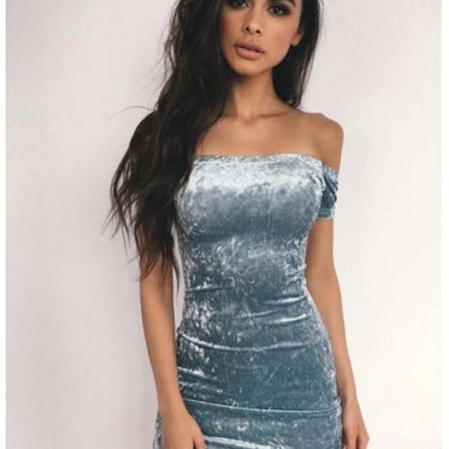 Sexy Off Shoulder Sheath Velvet Mini Dress Slash Neck Strapless Women Party Short Sleeve Elegant Pencil Bodycon Dress Vestidos BLD2019209