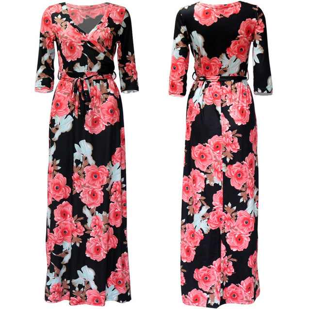 Women Summer Floral Print Maxi Dress Boho Style Long Beach Dress Evening Party Long Bandage Bodycon Dress Plus Size Vestidos BLD2019042
