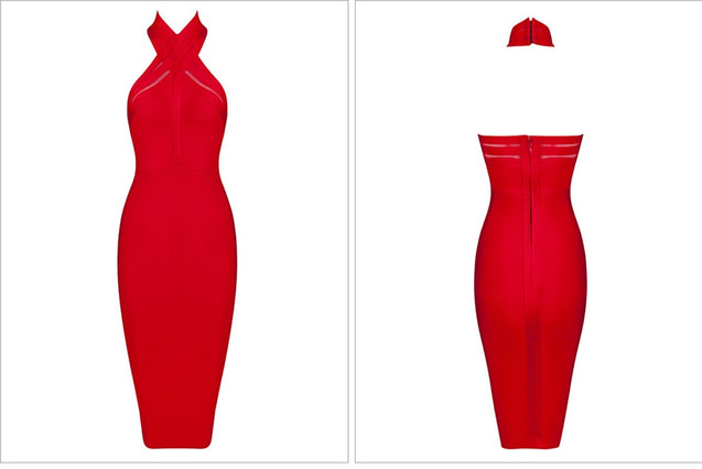 New Summer Evening Party Dresses Women Sexy Vestidos Halter Neck Red Blue Bodycon Bandage Dress 2019 Elegant Club Dress BLD2019308