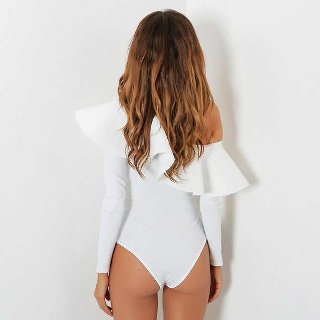 Good Quality Women's Sexy Bodysuit Top One Shoulder Ruffles Body Top Long Sleeve Combishort Femme Solid Color Overalls For Women  BLBO2019026