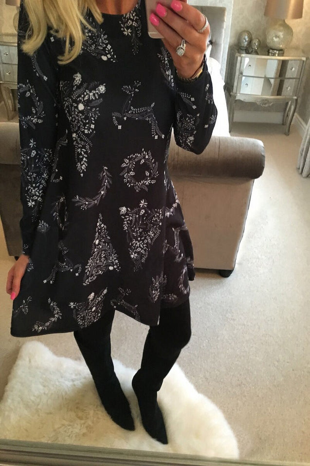 New Year Christmas Mini Dress Women Long Sleeve Floral Plus Size Dress Clothes Femme O-neck Ladies Dresses BLD2019081