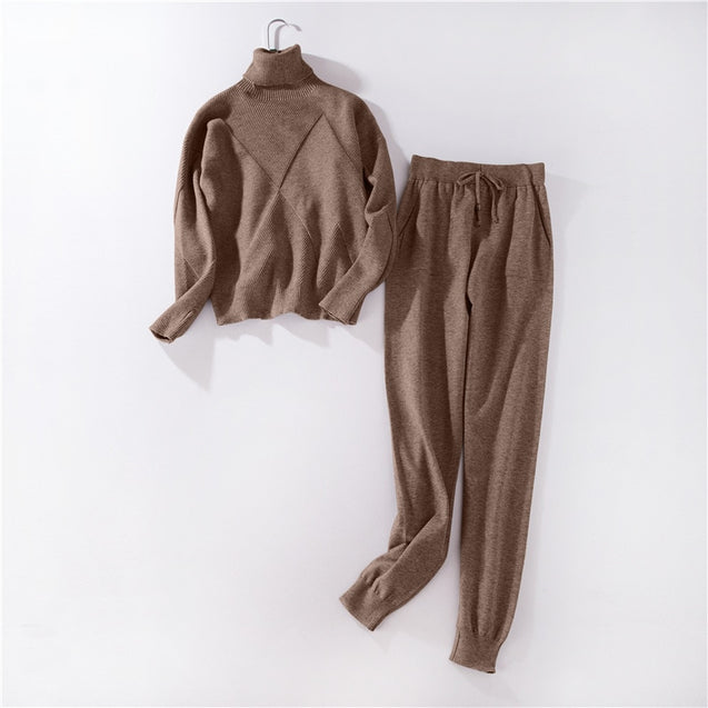 winter Knitted tracksuit Turtleneck sweatshirts Casual Suit Women clothing 2 Piece set Knit pant Sporting suit Female BLSS2019011