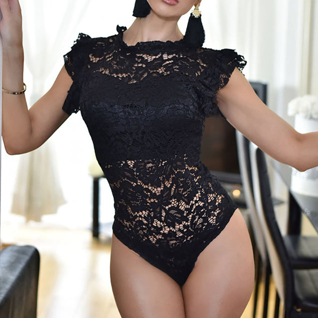 Ruffles Sleeve Lace Bodysuit Women Rompers Hollow Out Sexy Body Tops Erotic Overalls Skinny Club Party Bodysuits   BLBO2019024