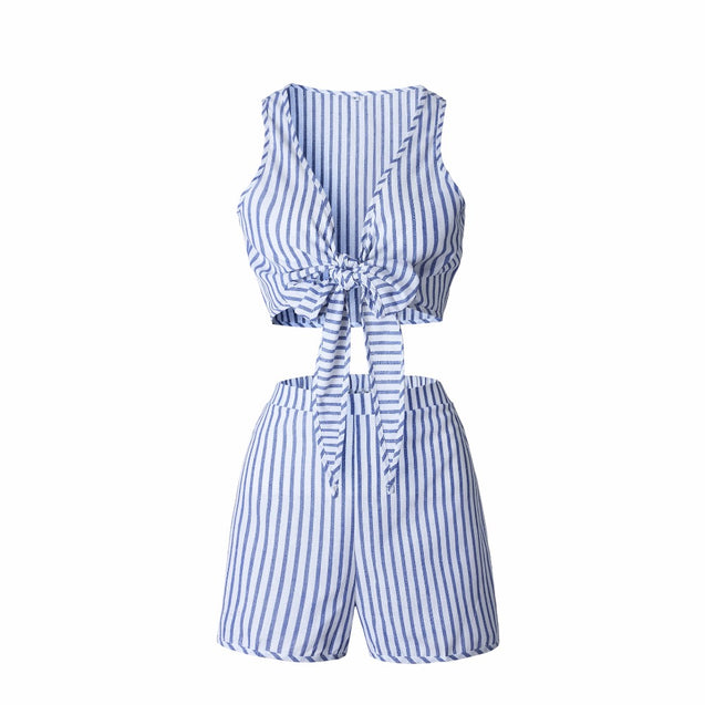 Two Piece Set Blue Striped Playsuits Beach Casual Short Pants Jumpsuit Rompers Sexy Sleeveless V Neck Overalls Bodysuit Sashes BLRO2019015