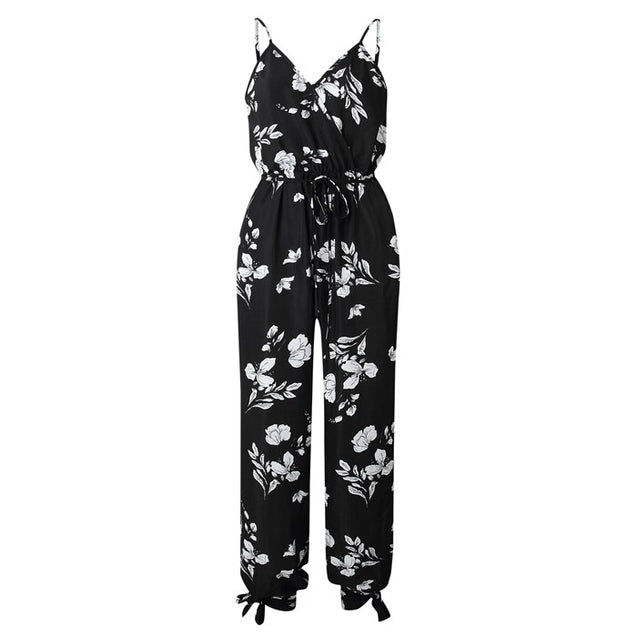 V Neck Sexy Bodysuits Women With Belt Body Femme Rompers Feminino Floral Playsuit Overalls Print Spring Summer Jumpsuit BLJU2019036