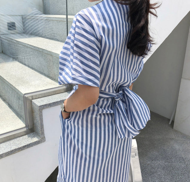 Women Summer Cotton Blue Striped Bandage Split Long Dress Female Long Bodycon Plus Size Vestido Robe Femme Ete Sukienki BLD2019059