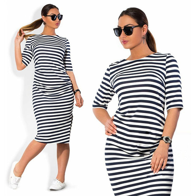 5XL 6XL Large Size 2018 Spring Summer Dress Big Size Dress White Black Striped Dresses Plus Size Women Clothing Belt Vestidos BLD2019109