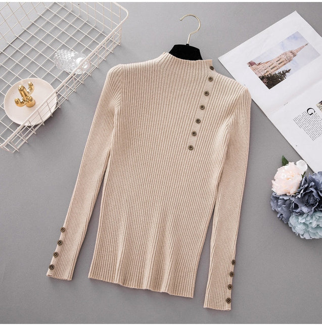 New Fashion Button Turtleneck Sweater Women Spring Autumn Solid Knitted Pullover Women Slim Soft Jumper Sweater Female Knit Tops BLSE2019018