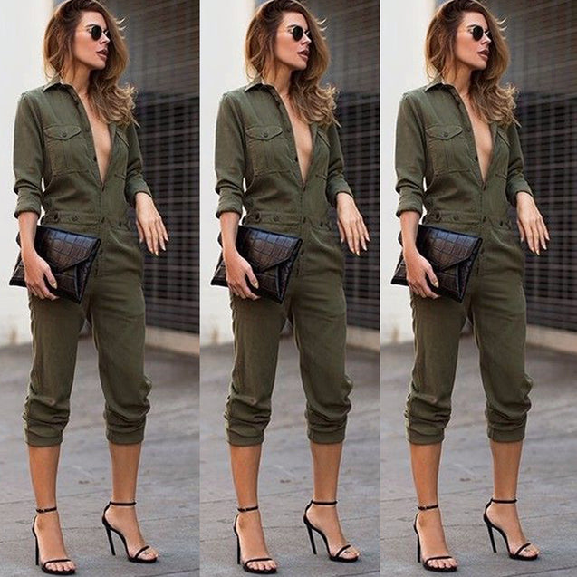 Sexy Women New Fashion Slim Bodycon Jumpsuit Long Sleeve Army Green Solid Casual Bodysuit Ladies Vintage Romper Long Jumpsuit BLJU201944
