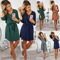 Short Sleeve Loose T Shirt Dress For Ladies 2019 Summer Dress Women Plus Size Pocket Casual Cotton Midi Wrap Dress Female Beach BLD2019174