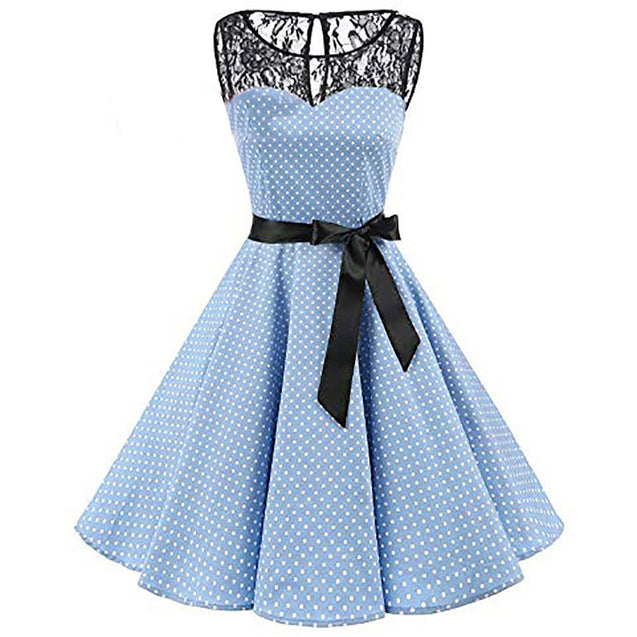 2018 Women Sleeveless Polka Dot Lace Hepburn Vintage Swing High-Waist Pleated Dress solid design hot Drop Shipping BLD2019204