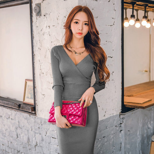 Fit 45-70KG Autumn Winter Women Knitted Cotton Skinny Sweater Dress V-neck Slim Bodycon Dress Elegant Pink Sexy Party Vestidos BLD2019045