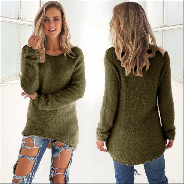 2017 Autumn Winter Women's O-Neck Sweater Female Hedging Loose Pullover Casual Solid Sweaters Wholesale Drop Ship BLSE2019015