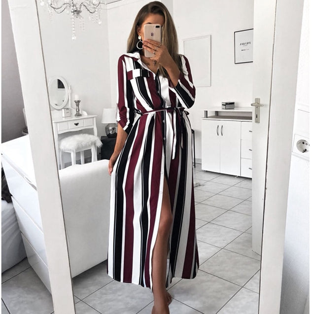 2019 Office Lady Turn-Down Collar Button Lace Up Long Shirt Dress Women Autumn Spring Long Sleeve Stripe Maxi Dresses BLD2019043