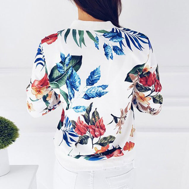 New Ladies Ribbed Trim Flower Print Bomber Jacket Women Autumn Printing Long Sleeve Casual Tops Zipper Jacket Outwear Loose Tops  BLJC2019035