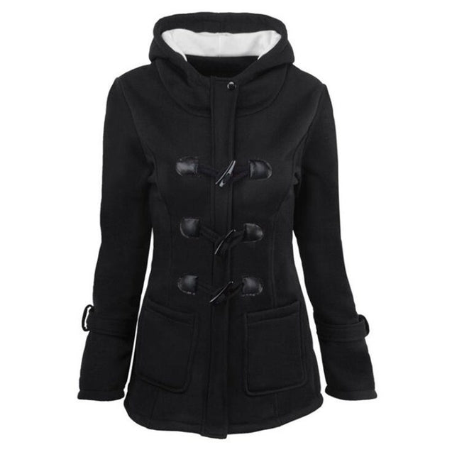 Plus Size S~6XL Women Hooded Coat 2018 Causal Women's Overcoat Female Coat Zipper Horn Button Outwear Jacket Casaco Feminino BLJC2019016