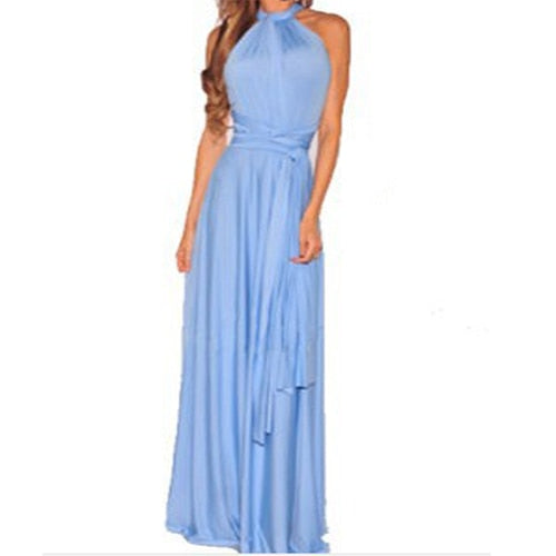 Sexy Long Dress Bridesmaid Formal Multi Way Wrap Convertible Infinity Maxi Dress Navy Blue Hollow Out Party Bandage Vestidos BLD2019046