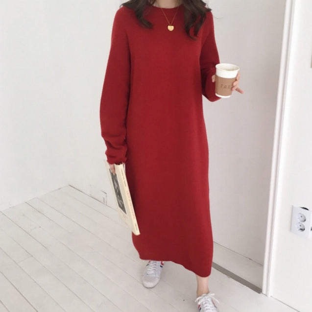 Women Autumn Winter Long Sleeve Long Sweater Dress Female Pullover Straight Knitted Solid Korean Clothes Plus Size Robe Femme BLD2019206