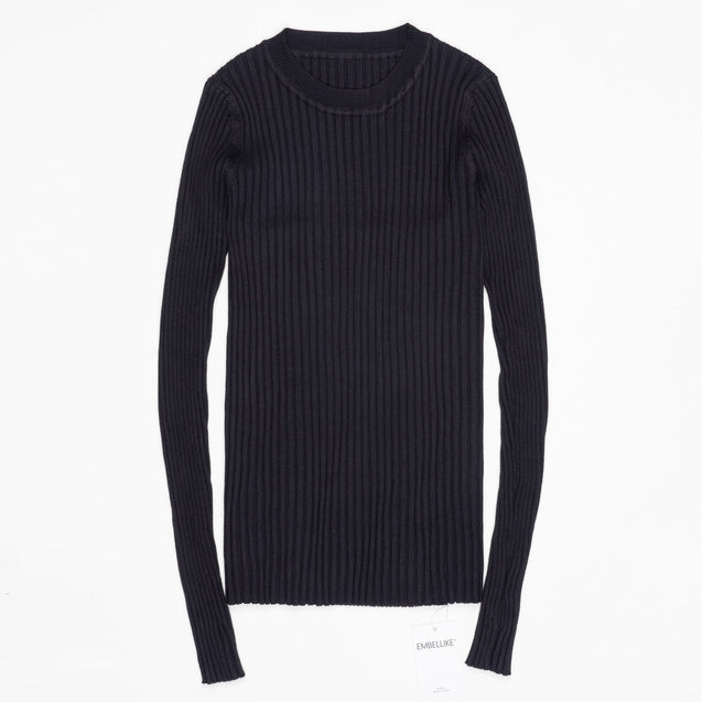 Women Sweater Pullover Basic Rib Knitted Cotton Tops Solid Crew Neck Essential Jumper Long Sleeve Sweaters With Thumb Hole BLSE2019021