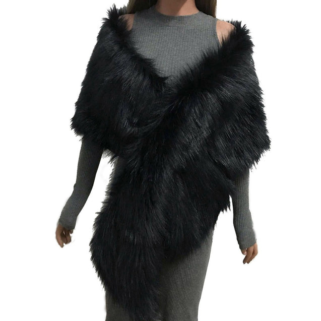 Women's Faux Fur Crop Poncho 2018 Autumn Winter Female Fashion Outwears Lady Solid Fluffy Sleeveless Bridal Wedding Capes BLJC2019014