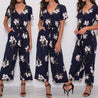 2019 Elegant Bodysuits Women Floral Printed Cloak V-neck Beach Summer Overall Playsuit Short Sleeve Lace Up Sexy Jumpsuits  BLJU2019022