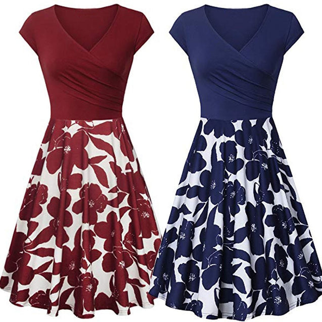 summer dress women elegant Short Sleeve Cross Dresses Vintage Elegant Flared A-Line blue dresses party night dress vestidos NEW BLD2019180