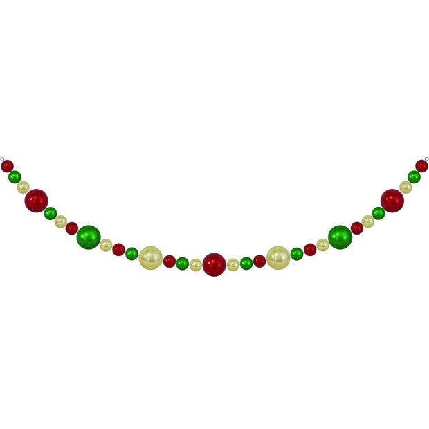 10' Giant Commercial Shatterproof Ball Garland, Gold/Green/Red, Case, 1 Piece