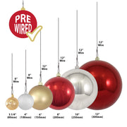 "4"" (100mm) Large Commercial Pre-Wired Shatterproof Ball Ornament, Red Alert, Case, 48 Pieces"