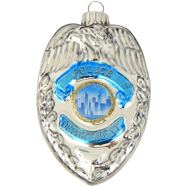 "3 1/2"" (89mm) Police Badge Figurine Ornaments, 1/Box, 6/Case, 6 Pieces - Christmas by Krebs Wholesale"