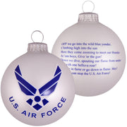 "3 1/4"" (80mm) Ball Ornaments, US Air Force, Silver Pearl, 1/Box, 12/Case, 12 Pieces"